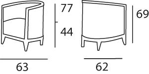 dimensions fauteuil Enzo de Charles Paget