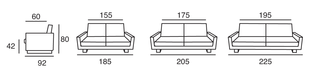 les dimensions du canapé homespirit légende