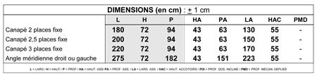 dimensions canape montmartre