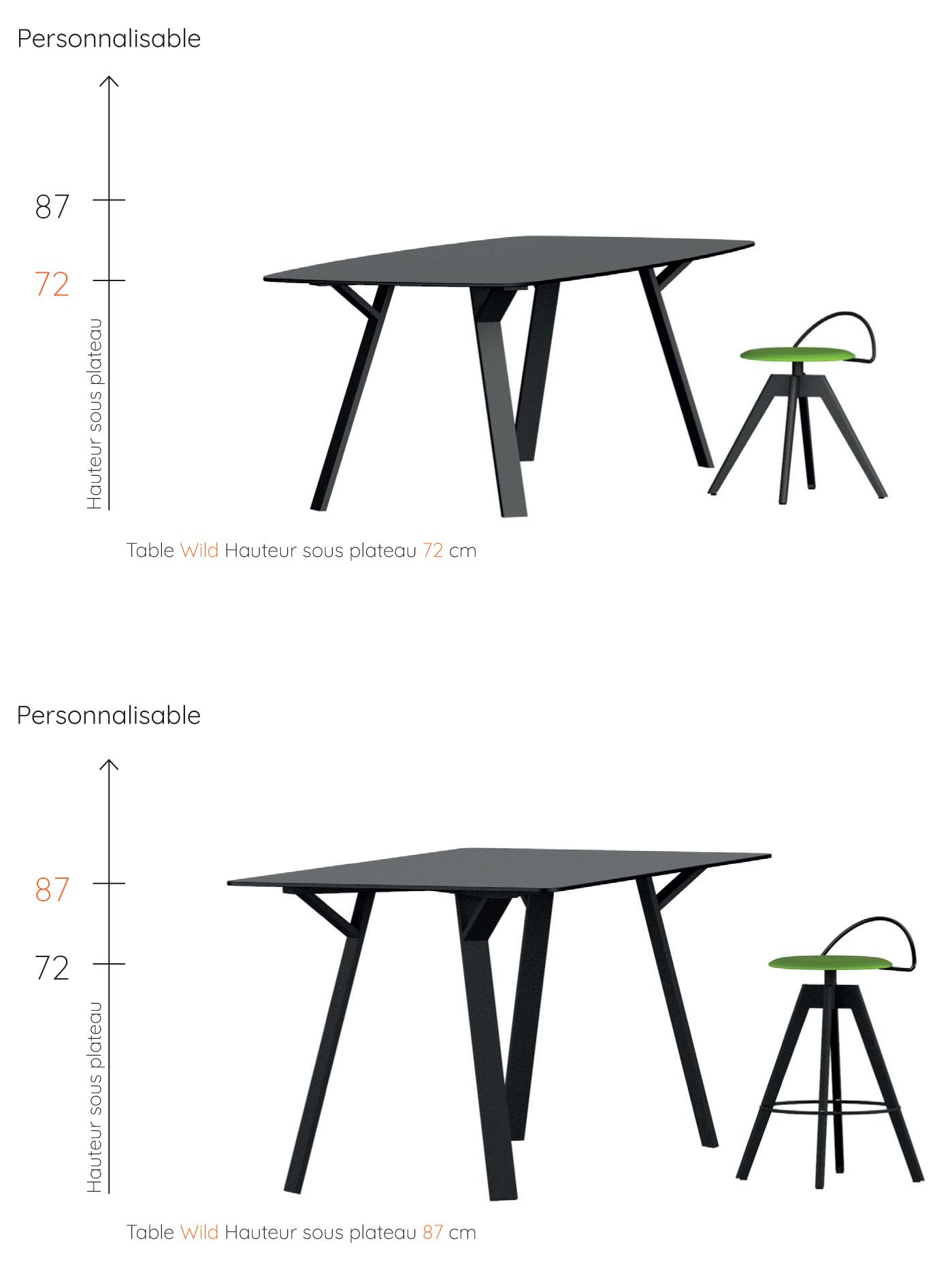 hauteur table wild